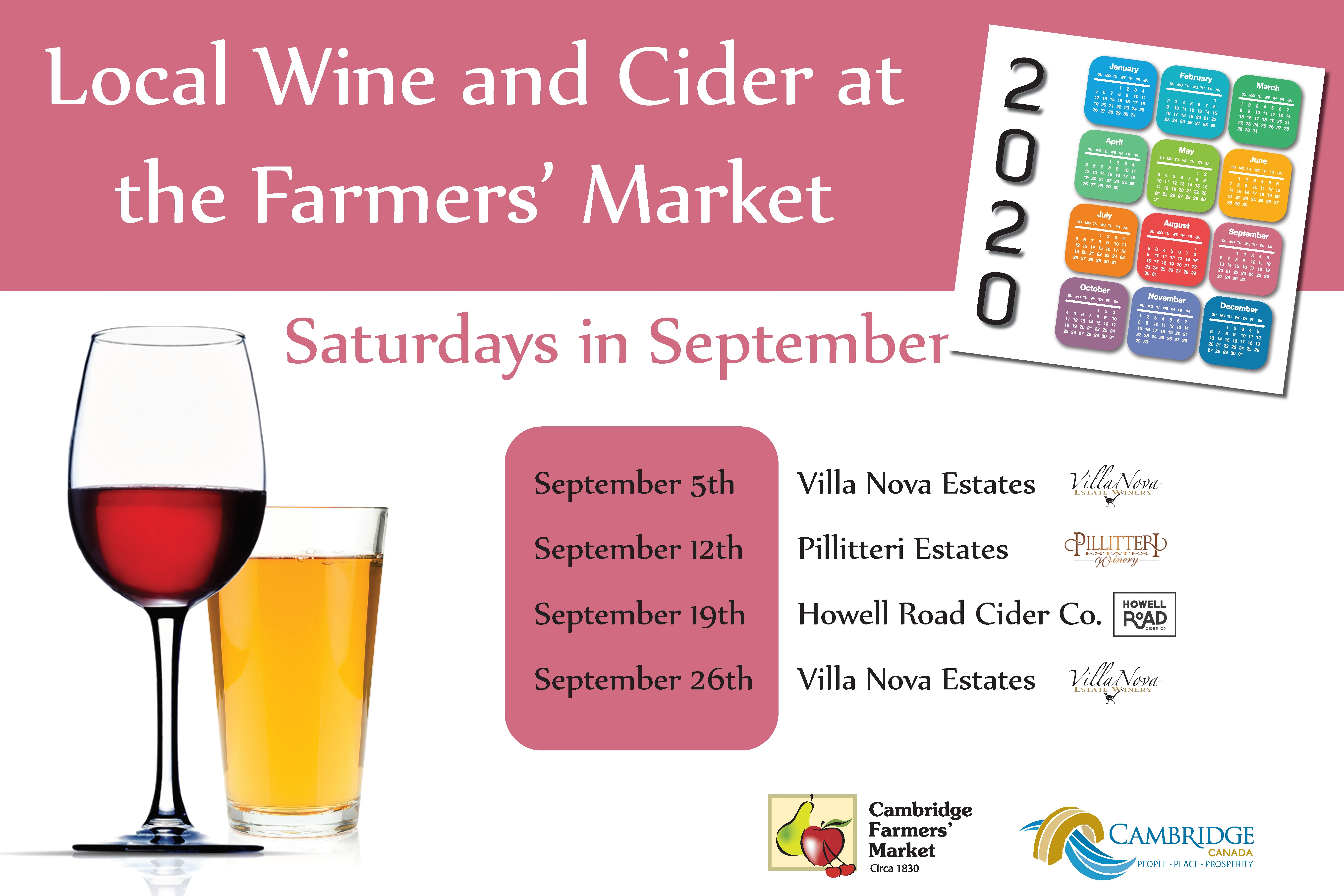 September Wine and Cider Schedule 2020